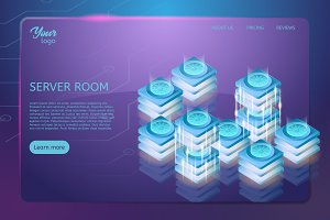 Concept of server room rack. Web hosting and data center isometric vector illustration.