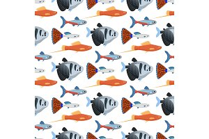 Exotic tropical aquarium fish seamless pattern background colors underwater ocean species aquatic nature flat vector illustration