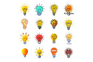 Bulb idea vector lightbulb icon solution of ideally brainstorm and electric lighting energy lamp illustration set of business ideal brain isolated on white background