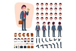 Businessman constructor vector creation of male character with manlike hairstyle head and face emotions illustration set of mans body with hands legs isolated on white background