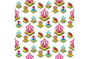Circus isometric show entertainment tent marquee seamless pattern background outdoor festival with stripes and flags carnival signs