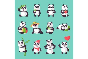 Panda vector bearcat or chinese bear with bamboo in love playing or sleeping illustration set of giant panda reading book or eating icecream isolated on background