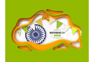 Indian Independence day holiday background. Paper cut shapes with shadow, bunting flags, 3d wheel and halftone effect in traditional tricolor of indian flag, vector illustration.