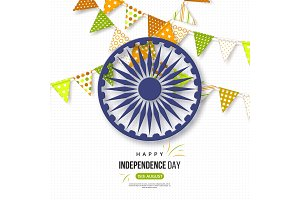 Indian Independence day holiday background. Bunting flags in traditional tricolor of indian flag, 3d wheel with shadow, dotted pattern, vector illustration.