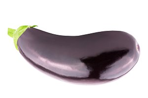 One whole fresh eggplant over white