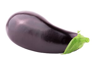 One whole eggplant over white