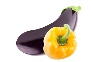 One Fresh eggplant and one pepper