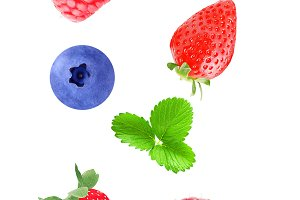 Isolated flying mix berry fruits