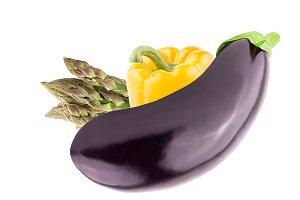 Fresh eggplant, green asparagus