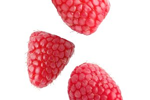 Falling raspberry fruits isolated