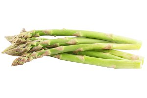 Bunch fresh asparagus over white