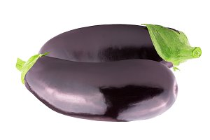 Two whole fresh eggplant over white