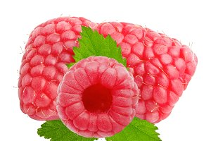 Three raspberry fruits with leaves