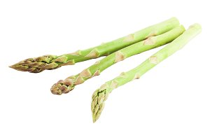 Three fresh green asparagus