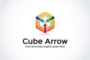 Cube Arrow Logo Template