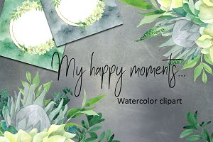 My happy moments. Watercolor clipart
