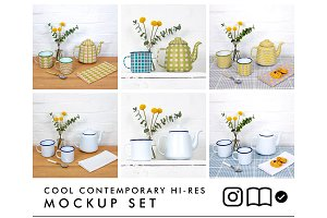 Enamel teapot and mugs mockup set