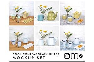 Enamel teapot and mugs mockup set