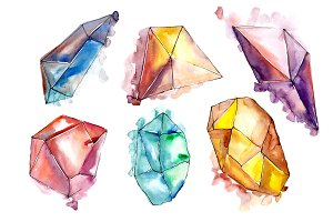 Beautiful crystals PNG watercolor