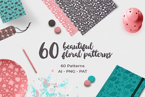 60 Floral Vector Patterns vol. 1