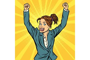 joyful woman winning hand gesture up