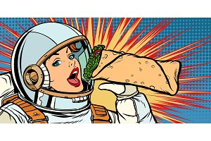 Hungry woman astronaut eating kebab Doner Shawarma