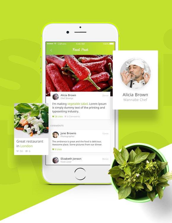 Organic food UI Kit for XD