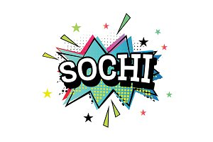 Sochi Comic Text in Pop Art Style.