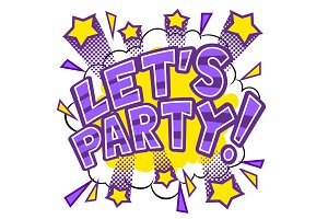 Lets party word comic book pop art vector