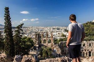 Tourist enjoying the view of Athens