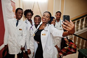 Group of african doctors students