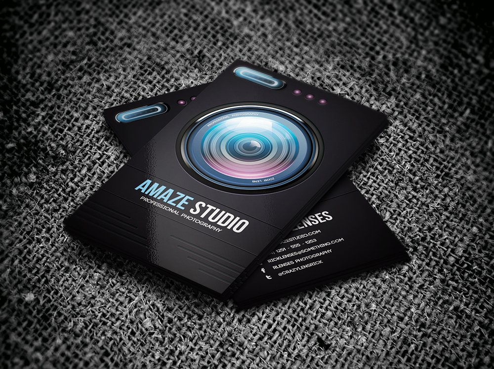 Photographer Lens Business Card Templates Creative Market