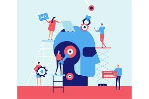 Artificial intelligence - flat design style illustration