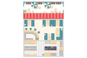 Cafe elements - modern vector colorful illustration