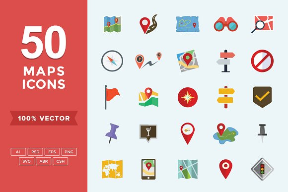 Navigation Maps Flat Vector Icons