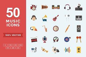 Flat Icons Music Set
