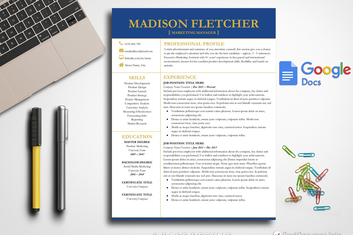 Professional Resume Google Docs Templates Creative Market
