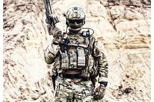 Elite fighter of special forces ready for battle