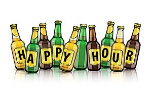 Beer bottles with happy hour text