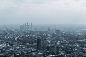 Misty evening cityscape