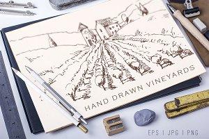 Hand drawn vineyards illustrations
