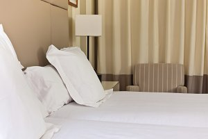 Prepared fresh bed, scene in hotel