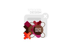 Flat design cross shape geometric sticker icon, paper style design with buy now sample text, for business or web presentation, app or interface buttons