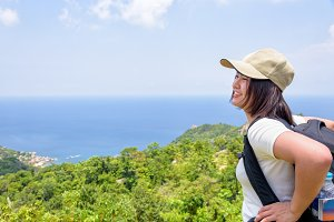 Women tourist on viewpoint at Koh Tao