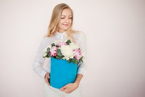 Stylish flower delivery, gift. Woman