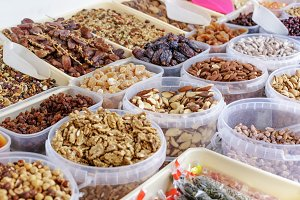 Various kinds of nuts at Market