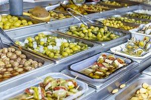 Various kinds of olives at Market