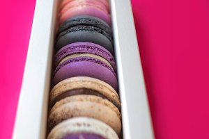 Colorful macarons in a gift box