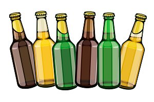 Beer bottles row set