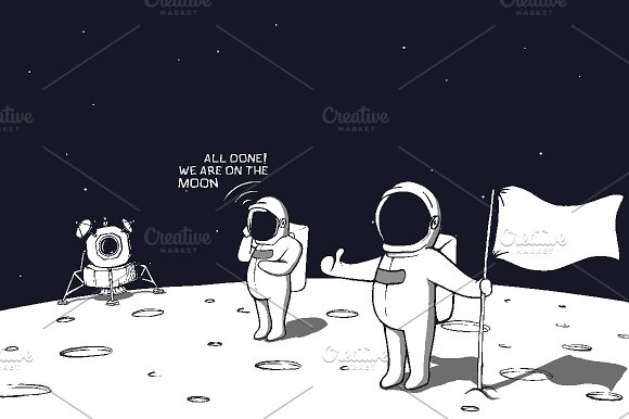 astronauts landed on the moon illustrations creative market